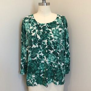 Sweaters - Green Leaf Print Cardigan Sweater